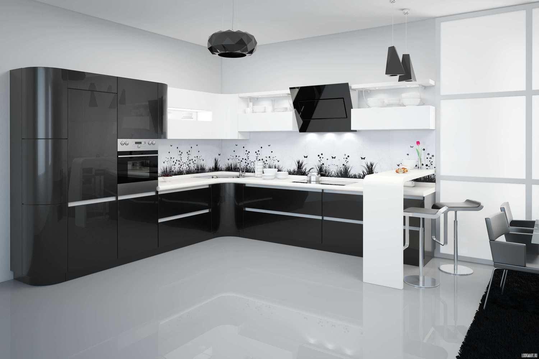 Черно-белая кухня фото дизайн