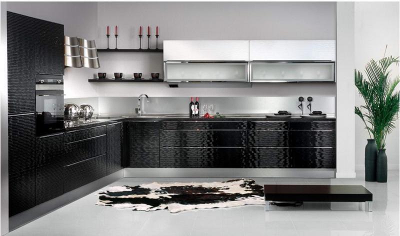 Кухни модерн черно белые фото